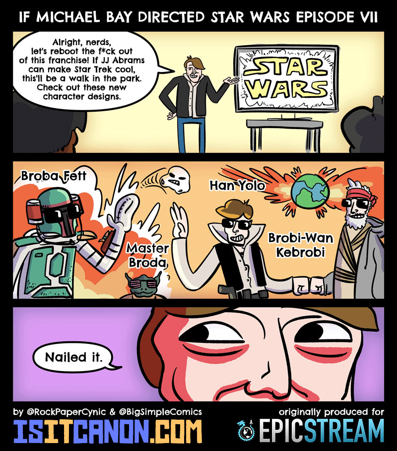 if michael bay directed star wars episode vii an is it canon comic