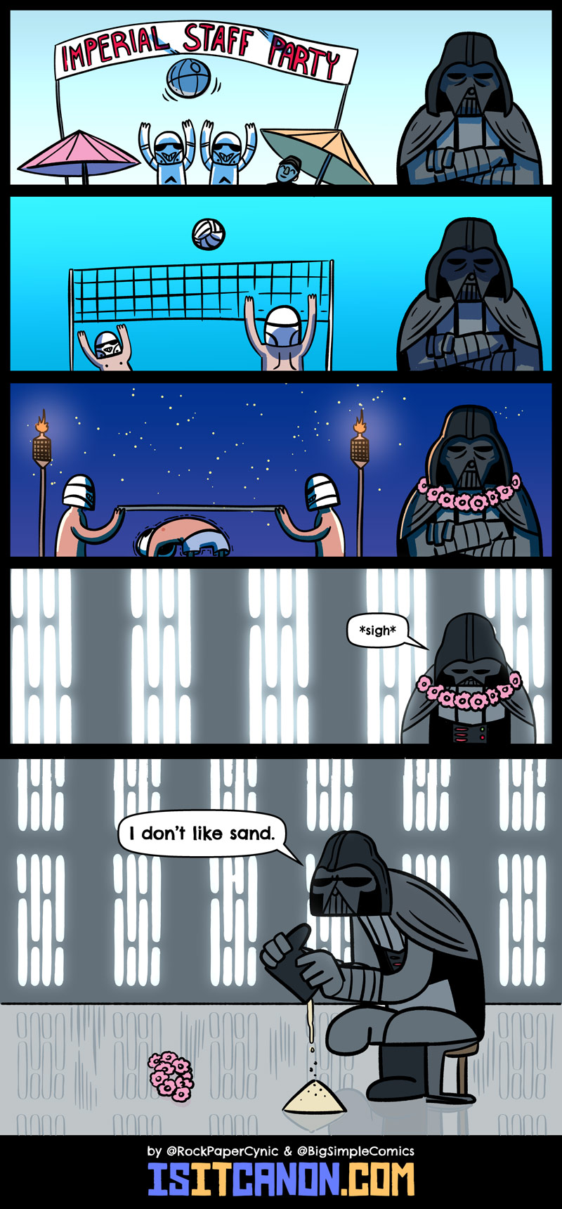 In this comic, Darth Vader has to go the Imperials' annual company retreat at the beach.
