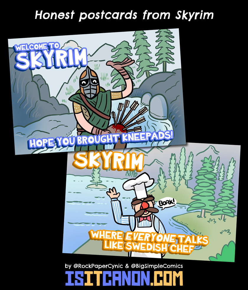 Here are a couple of posctards that Tourism Skyrim might design if such a thing existed