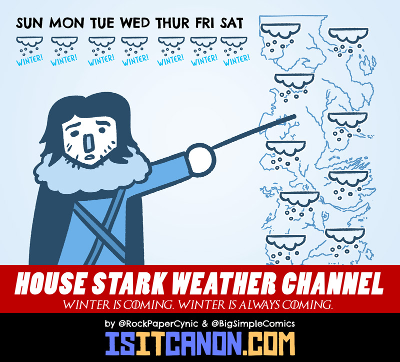 Welcome to the House Stark Weather Channel. Let's go live to Jon Snow with a forecast of ice and fire.